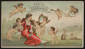 Trade card for Hall's Vegetable Sicilian Hair Renewer, R.P. Hall & Co., Nashua, New Hampshire, undated