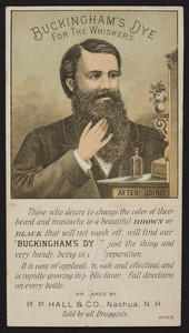 Trade card for Buckingham's Dye for the Whiskers, R.P. Hall & Co., Nashua, New Hampshire, undated