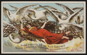 Trade cards for Hall's Vegetable Sicilian Hair Renewer, R.P. Hall & Co., Nashua, New Hampshire, undated