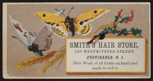 Trade card for Smith's Hair Store, 198 Westminster Street, Providence, Rhode Island, undated