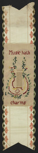 Music hath charms, embroidery, location unknown, undated