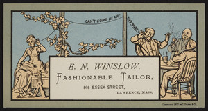 Trade card for E.N. Winslow, fashionable tailor, 505 Essex Street, Lawrence, Mass., 1877