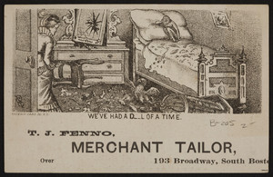 Trade card for T.J. Fenno, merchant tailor, 193 Broadway Street, South Boston, Mass., 1880