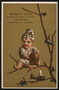 Trade card for Charles F. Allen, gentlemen's, boys' & ladies' tailoring, 36 West Street, Boston, Mass., undated