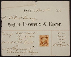 Billhead for Devereux & Eager, tailors, Boston, Mass., dated November 1, 1866