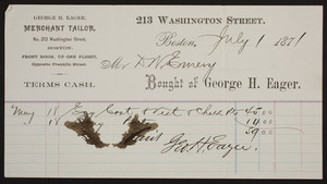 Billhead for George H. Eager, merchant tailor, No. 213 Washington Street, Boston, Mass., dated July 1, 1871