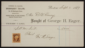 Billhead for George H. Eager, merchant tailor, No. 213 Washington Street, Boston, Mass., dated September 2, 1869