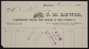 Billhead for J.H. Lewis, merchant tailor and dealer in fine cloths, 417 Washington Street, Boston, Mass., dated December 1, 1883
