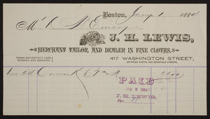 Billhead for J.H. Lewis, merchant tailor and dealer in fine cloths, 417 Washington Street, Boston, Mass., dated January 1, 1884