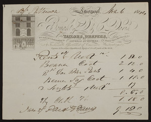 Billhead for D. & C. Davis, tailors, drapers and general outfitters, 7 James Street, Liverpool, United Kingdom, dated June 6, 1844