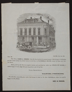 Handbill for Perkins, draper and tailor, Naumkeag Block, corner of Essex and Central Streets, Salem, Mass., January 1, 1853