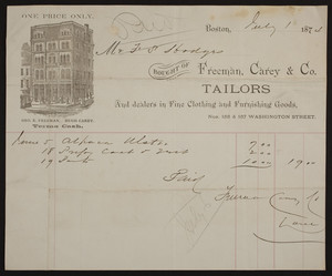 Billhead for Freeman, Carey & Co., tailors and dealers in fine clothing and furnishing goods, Nos. 155 & 157 Washington Street, Boston, Mass., dated July 1, 1874