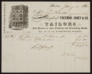 Billhead for Freeman, Carey & Co., tailors and dealers in fine clothing and furnishing goods, Nos. 155 & 157 Washington Street, Boston, Mass., dated January 1, 1866