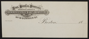 Billhead for Russ, Cobb & Company, importers & jobbers of trimmings, small-wares, worsteds, No. 19 Summer Street, Boston, Mass., 1800s