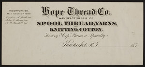 Billhead for the Hope Thread Co., manufacturers of spool thread, yarns and knitting cotton, Pawtucket, Rhode Island, 1870s
