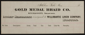 Billhead for the Gold Medal Braid Co., Attleboro Falls, Boston, Mass., 1800s