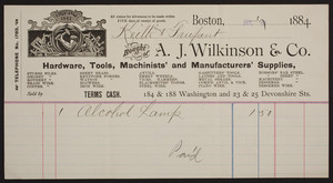 Billheads for A.J. Wilkinson & Co., hardware, tools, machinists' and manufacturers' supplies, 184 & 188 Washington and 23 & 25 Devonshire Streets, Boston, Mass., dated July 31 and October 2, 1884