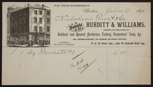 Billhead for Burditt & Williams, jobbers and retailers of builders' and general hardware, cutlery, carpenters' tools, 18 & 20 Dock Square, and 30 Faneuil Hall Square, Boston, Mass., dated June 11, 1890
