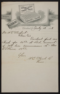 Letterhead for H.C. Tack Co., manufacturers of tacks and fine nails, Cleveland, Ohio, dated July 13, 1888