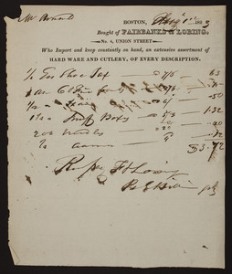 Billhead for Fairbanks & Loring, hard ware and cutlery of every description, No. 4 Union Street, Boston, Mass., dated August 12, 1823