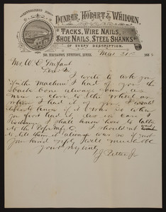 Letterhead for Dunbar, Hobart & Whidden, tacks, wire nails, shoe nails, steel shanks, South Abington Station, Mass., dated March 21, 1882