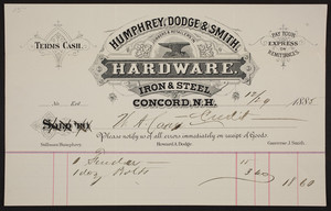 Billhead for Humphrey, Dodge & Smith, jobbers & retailers in hardware, iron & steel, Concord, New Hampshire, dated December 29, 1885