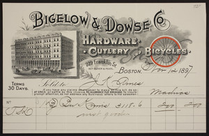 Bigelow & Dowse Co., hardware, cutlery and bicycles, 229 Franklin Street, between Oliver & Pearl, Boston, Mass., dated November 12, 1897
