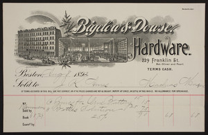 Billhead for Bigelow & Dowse, hardware, 229 Franklin Street, between Oliver and Pearl, Boston, Mass., dated August 8, 1892