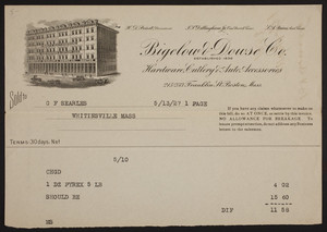 Billhead for Bigelow & Dowse Co., hardware, cutlery & auto. accessories, 215-233 Franklin Street, Boston, Mass., dated May 13, 1927