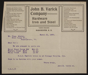 Billhead for the John B. Varick Company, hardware iron and steel, Varick Building, Manchester, New Hampshire, dated March 31, 1906