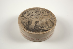 Box for the Ladies' Crimped Collar and Cuffs, manufactured by the American Molded Collar Company, Boston, Mass., ca. 1870