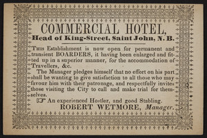Trade card for Commercial Hotel, head of King Street, Saint John, New Brunswick, undated