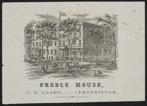 Trade card for Preble House, C.H. Adams, Portland, Maine, ca. 1865