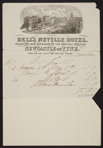 Billhead for Bell's Neville Hotel, Newcastle on Tyne, England, undated