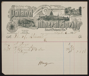 Billhead for Poland Mineral Spring, Poland Water, Hiram Ricker & Sons, South Poland, Maine, September 3, 1895