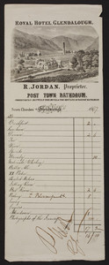 Billhead for the Royal Hotel Glendalough, R. Jordan, proprietor, Seven Churches, Glendalough, Republic of Ireland, 1867