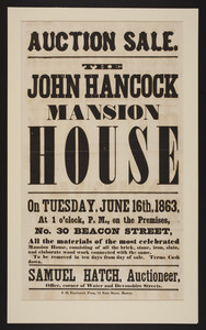 Auction Sale. The John Hancock Mansion House