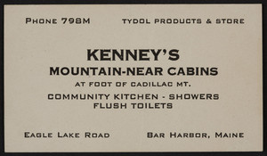 Trade card for Kenney's Mountain-Near Cabins, Eagle Lake Road, Bar Harbor, Maine, undated