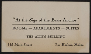 Trade card for The Allen Building, rooms, apartments, suites, 115 Main Street, Bar Harbor, Maine, undated