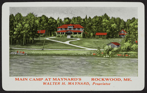 Trade card for Maynard's Camps, Walter H. Maynard, proprietor, Rockwood, Maine, 1932-1933