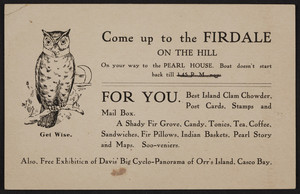 Trade card for Firdale on the Hill, Orr's Island, Maine, undated