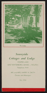 Brochure for Sunnyside Cottages and Lodge, Ossipee Lake, Route 5, East Waterboro, Maine, undated