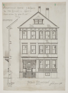 Front elevation of apartment house to be erected for Mrs. Elizabeth Homer, Boylson St., Jam. Plain, Mass., undated