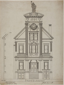 Set of architectural drawings for an unidentified three-story public building, 1893