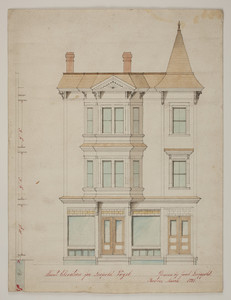 Front elevation of a store front with house above for Leopold Vogel in West Roxbury, Mass., 1891