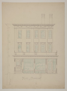 Front elevation of store with two stories of apartments, undated