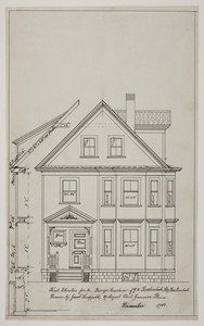 Front elevation for a two-and-a-half story dwelling for Mr. George Maschino in Roslindale, Mass., 1910