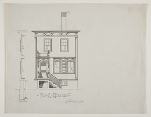 Front elevation of single-family dwelling, undated