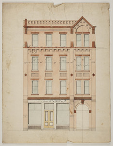 Front elevation of store with three stories of apartments, undated