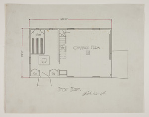 Floor plan of a carriage house for Caspar Rachofner in West Roxbury, Mass., 1894